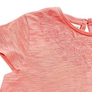 Zara Coral Embroidered Tassel T-Shirt